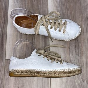 Anthropologie Maypol leather lace up espadrilles 7.5 white